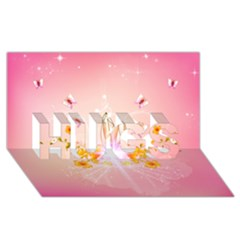 Wonderful Flowers With Butterflies And Diamond In Soft Pink Colors HUGS 3D Greeting Card (8x4)