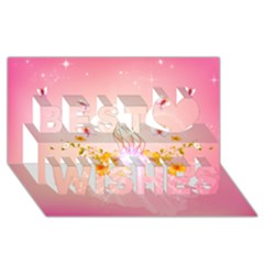 Wonderful Flowers With Butterflies And Diamond In Soft Pink Colors Best Wish 3D Greeting Card (8x4)