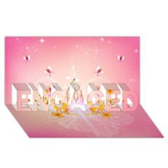 Wonderful Flowers With Butterflies And Diamond In Soft Pink Colors ENGAGED 3D Greeting Card (8x4)