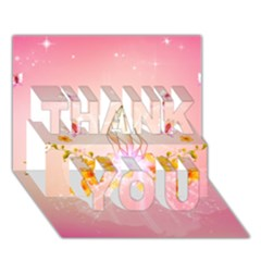 Wonderful Flowers With Butterflies And Diamond In Soft Pink Colors Thank You 3d Greeting Card (7x5)