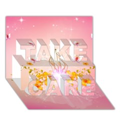 Wonderful Flowers With Butterflies And Diamond In Soft Pink Colors Take Care 3d Greeting Card (7x5)