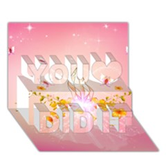 Wonderful Flowers With Butterflies And Diamond In Soft Pink Colors You Did It 3d Greeting Card (7x5)