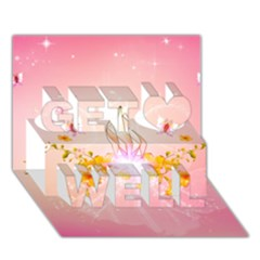 Wonderful Flowers With Butterflies And Diamond In Soft Pink Colors Get Well 3d Greeting Card (7x5)
