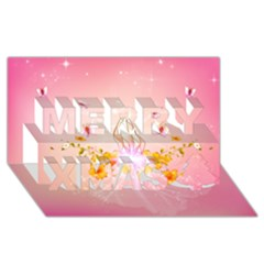 Wonderful Flowers With Butterflies And Diamond In Soft Pink Colors Merry Xmas 3d Greeting Card (8x4)