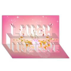 Wonderful Flowers With Butterflies And Diamond In Soft Pink Colors Laugh Live Love 3D Greeting Card (8x4)