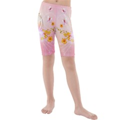 Wonderful Flowers With Butterflies And Diamond In Soft Pink Colors Kid s swimwear