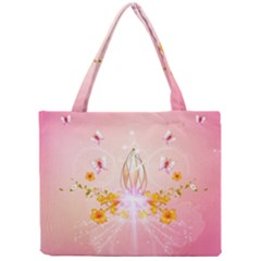 Wonderful Flowers With Butterflies And Diamond In Soft Pink Colors Tiny Tote Bags