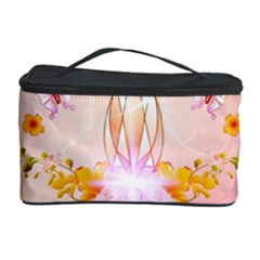 Wonderful Flowers With Butterflies And Diamond In Soft Pink Colors Cosmetic Storage Cases