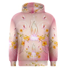 Wonderful Flowers With Butterflies And Diamond In Soft Pink Colors Men s Pullover Hoodies