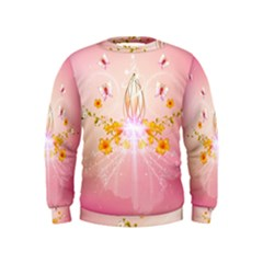 Wonderful Flowers With Butterflies And Diamond In Soft Pink Colors Boys  Sweatshirts