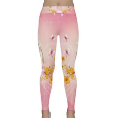 Wonderful Flowers With Butterflies And Diamond In Soft Pink Colors Yoga Leggings