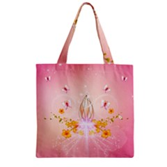 Wonderful Flowers With Butterflies And Diamond In Soft Pink Colors Zipper Grocery Tote Bags