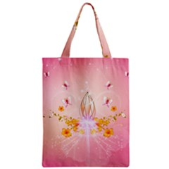 Wonderful Flowers With Butterflies And Diamond In Soft Pink Colors Zipper Classic Tote Bags