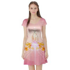 Wonderful Flowers With Butterflies And Diamond In Soft Pink Colors Short Sleeve Skater Dresses