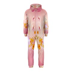 Wonderful Flowers With Butterflies And Diamond In Soft Pink Colors Hooded Jumpsuit (Kids)