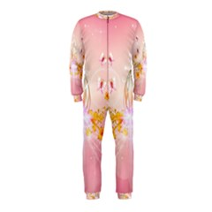 Wonderful Flowers With Butterflies And Diamond In Soft Pink Colors Onepiece Jumpsuit (kids)