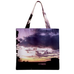 Sunset Over The Valley Zipper Grocery Tote Bags