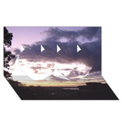 Sunset Over The Valley Twin Hearts 3D Greeting Card (8x4)
