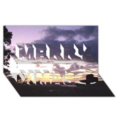 Sunset Over The Valley Merry Xmas 3d Greeting Card (8x4)