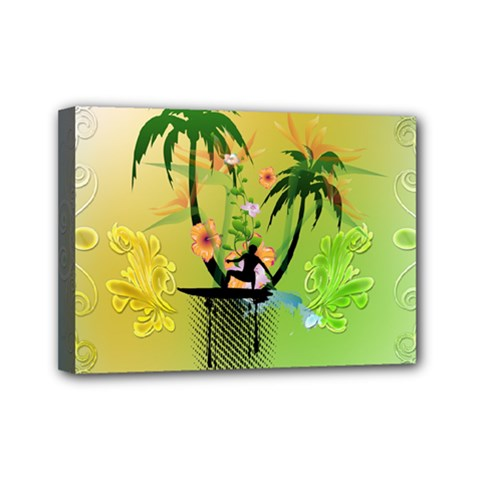 Surfing, Surfboarder With Palm And Flowers And Decorative Floral Elements Mini Canvas 7  x 5