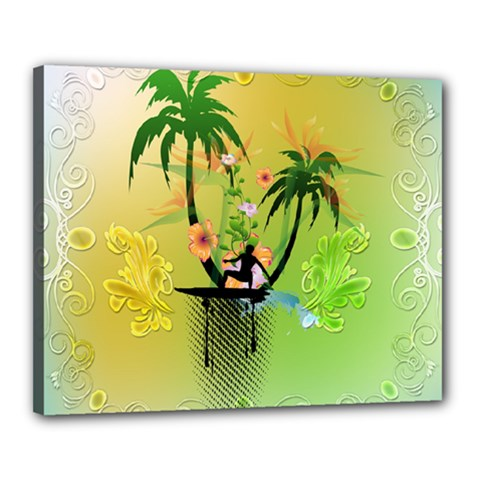 Surfing, Surfboarder With Palm And Flowers And Decorative Floral Elements Canvas 20  x 16