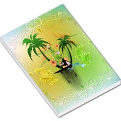 Surfing, Surfboarder With Palm And Flowers And Decorative Floral Elements Large Memo Pads