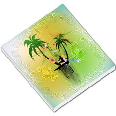 Surfing, Surfboarder With Palm And Flowers And Decorative Floral Elements Small Memo Pads