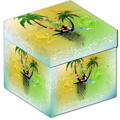 Surfing, Surfboarder With Palm And Flowers And Decorative Floral Elements Storage Stool 12