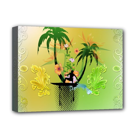 Surfing, Surfboarder With Palm And Flowers And Decorative Floral Elements Deluxe Canvas 16  x 12