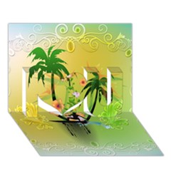 Surfing, Surfboarder With Palm And Flowers And Decorative Floral Elements I Love You 3D Greeting Card (7x5)
