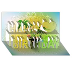 Surfing, Surfboarder With Palm And Flowers And Decorative Floral Elements Happy Birthday 3d Greeting Card (8x4)