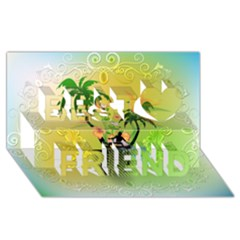 Surfing, Surfboarder With Palm And Flowers And Decorative Floral Elements Best Friends 3D Greeting Card (8x4)