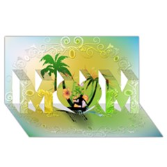 Surfing, Surfboarder With Palm And Flowers And Decorative Floral Elements MOM 3D Greeting Card (8x4)