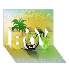 Surfing, Surfboarder With Palm And Flowers And Decorative Floral Elements BOY 3D Greeting Card (7x5)