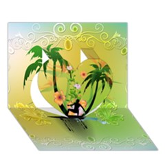 Surfing, Surfboarder With Palm And Flowers And Decorative Floral Elements Heart 3d Greeting Card (7x5)