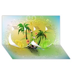 Surfing, Surfboarder With Palm And Flowers And Decorative Floral Elements Twin Hearts 3D Greeting Card (8x4)