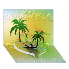 Surfing, Surfboarder With Palm And Flowers And Decorative Floral Elements Heart Bottom 3D Greeting Card (7x5)