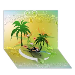 Surfing, Surfboarder With Palm And Flowers And Decorative Floral Elements Circle Bottom 3d Greeting Card (7x5)