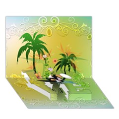 Surfing, Surfboarder With Palm And Flowers And Decorative Floral Elements LOVE Bottom 3D Greeting Card (7x5)