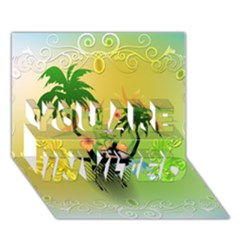 Surfing, Surfboarder With Palm And Flowers And Decorative Floral Elements YOU ARE INVITED 3D Greeting Card (7x5)