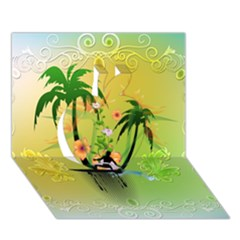Surfing, Surfboarder With Palm And Flowers And Decorative Floral Elements Apple 3D Greeting Card (7x5)