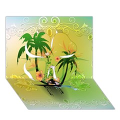 Surfing, Surfboarder With Palm And Flowers And Decorative Floral Elements Clover 3D Greeting Card (7x5)