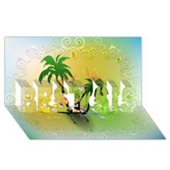 Surfing, Surfboarder With Palm And Flowers And Decorative Floral Elements Best Sis 3d Greeting Card (8x4)