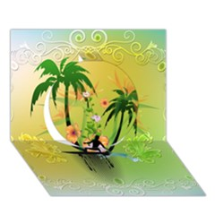 Surfing, Surfboarder With Palm And Flowers And Decorative Floral Elements Circle 3D Greeting Card (7x5)