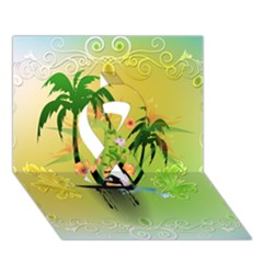 Surfing, Surfboarder With Palm And Flowers And Decorative Floral Elements Ribbon 3D Greeting Card (7x5)