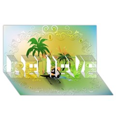 Surfing, Surfboarder With Palm And Flowers And Decorative Floral Elements Believe 3d Greeting Card (8x4)