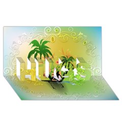 Surfing, Surfboarder With Palm And Flowers And Decorative Floral Elements HUGS 3D Greeting Card (8x4)