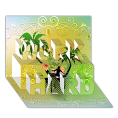 Surfing, Surfboarder With Palm And Flowers And Decorative Floral Elements WORK HARD 3D Greeting Card (7x5)