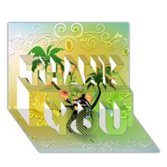 Surfing, Surfboarder With Palm And Flowers And Decorative Floral Elements THANK YOU 3D Greeting Card (7x5)