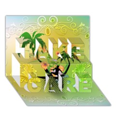 Surfing, Surfboarder With Palm And Flowers And Decorative Floral Elements TAKE CARE 3D Greeting Card (7x5)